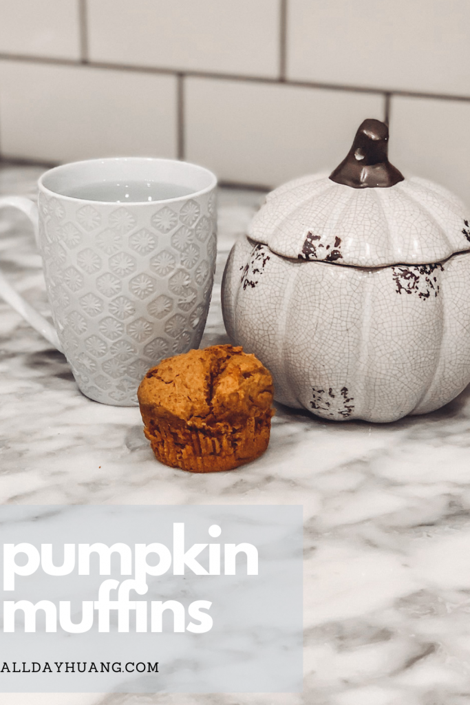 pumpkin muffin with a cup of tea