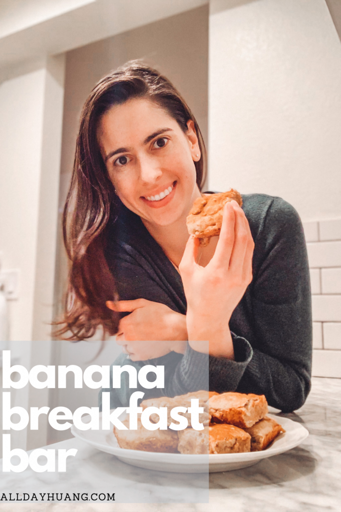 Woman eating breakfast bars from a plate.